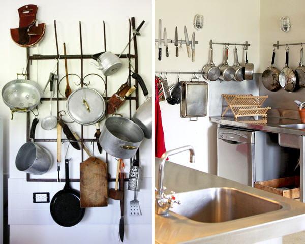 Des casseroles et ustensiles suspendus petite cuisine for Soldes ustensiles cuisine casseroles