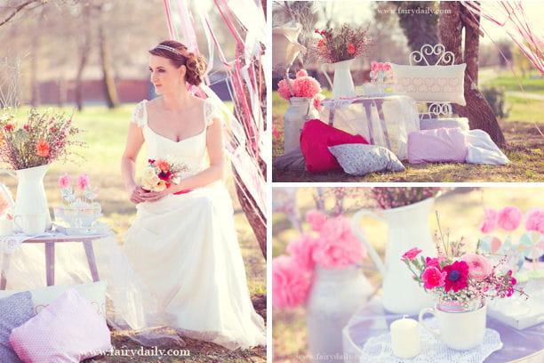 une d coration romantique et vintage pour votre mariage une d co rose et paillett e pour votre. Black Bedroom Furniture Sets. Home Design Ideas