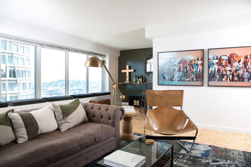 art contemporain et mobilier vintage un appartement vintage avec la ville pour horizon. Black Bedroom Furniture Sets. Home Design Ideas