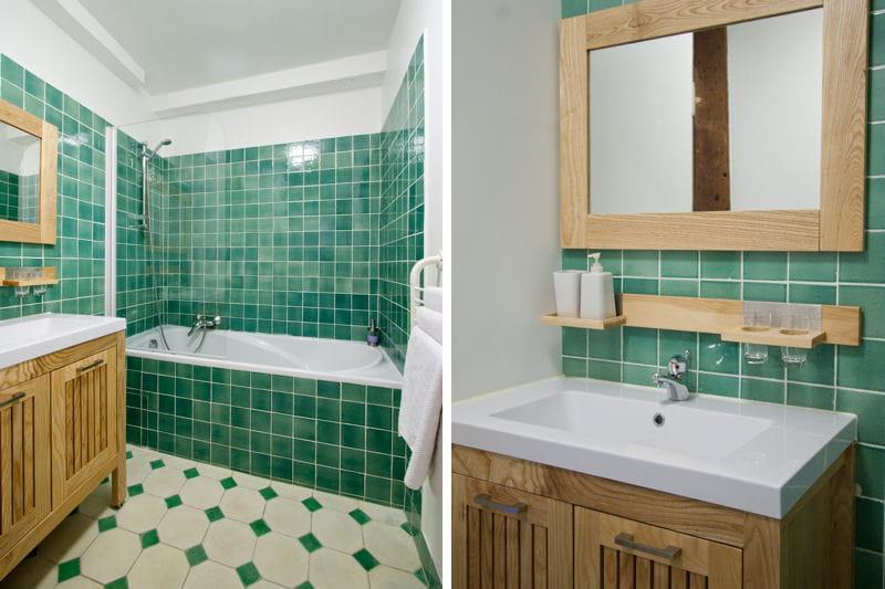 Carrel e de vert des salles de bains de d corateurs - Faience verte salle de bain ...