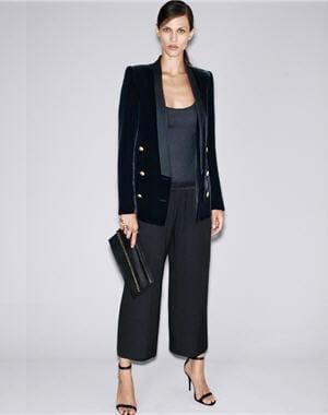 pantalon large jacquard de zara les pantalons styl s de la saison journal des femmes. Black Bedroom Furniture Sets. Home Design Ideas
