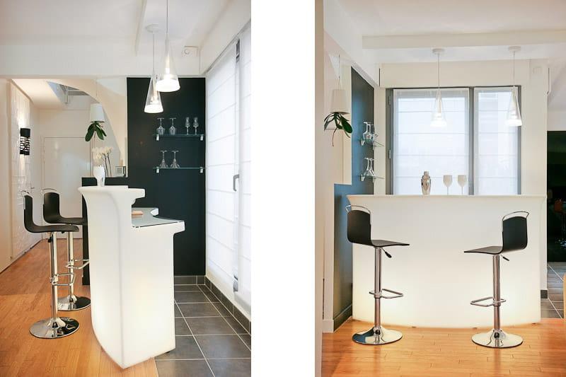 un bar attractif un duplex familial et contemporain journal des femmes. Black Bedroom Furniture Sets. Home Design Ideas