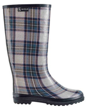 bottes de pluie en tartan d 39 aigle des bottes de pluie pour affronter le mauvais temps avec. Black Bedroom Furniture Sets. Home Design Ideas