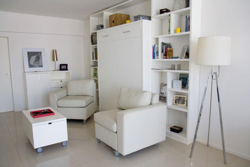 un espace salon modulable un petit espace parfaitement optimis journal des femmes. Black Bedroom Furniture Sets. Home Design Ideas