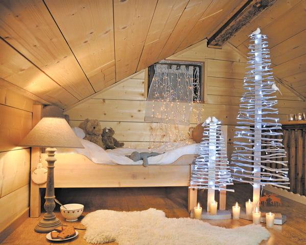 Sapins bois argent de blach re illumination d co de - Decoration de noel interieur ...