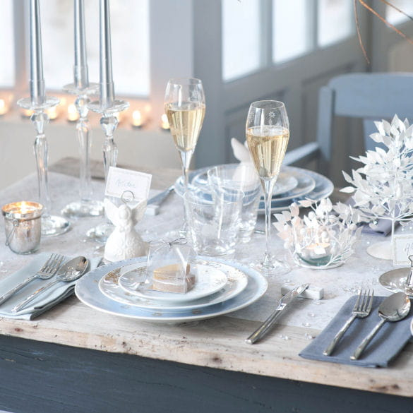 Table no l f erique de genevi ve lethu table de no l - Decoration table de noel or et blanc ...