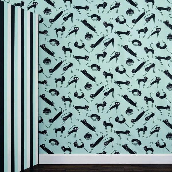 papier peint photosphowall cats d 39 ich kar papier peint osez les motifs journal des femmes. Black Bedroom Furniture Sets. Home Design Ideas
