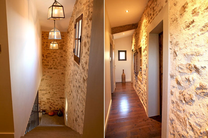Escaliers aux murs de pierres une bergerie la d co for Deco mur exterieur maison