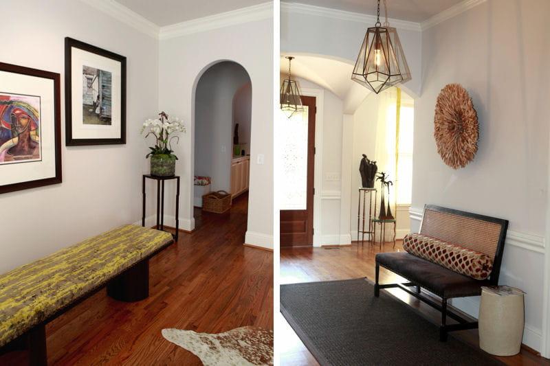 Banc et banquette dans l 39 entr e avant apr s nouveau for Journal decoration maison