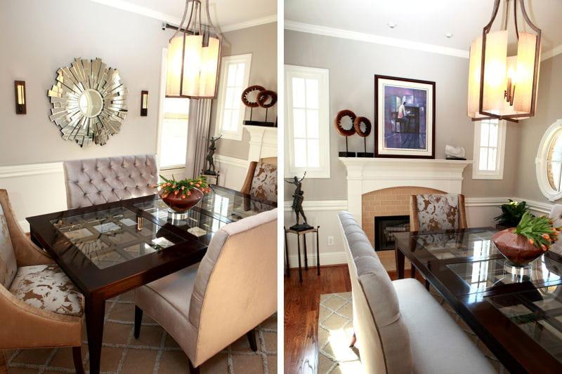apr s une salle manger douce en gris et dor avant apr s nouveau look pour une maison. Black Bedroom Furniture Sets. Home Design Ideas