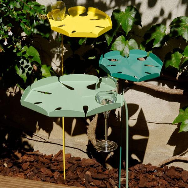 Table d 39 appoint feuille de miloma chez jardin chic salon for Table d appoint jardin