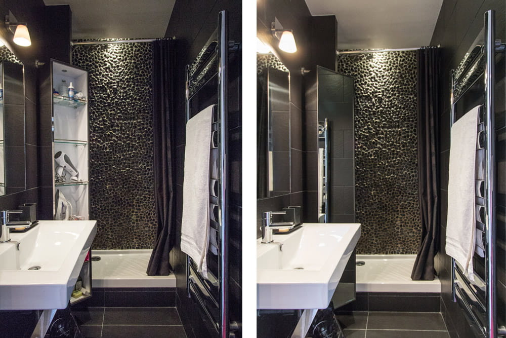 une salle de bains noire avant apr s la renaissance d. Black Bedroom Furniture Sets. Home Design Ideas