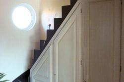 dessous d'escalier aménagé avec des placards