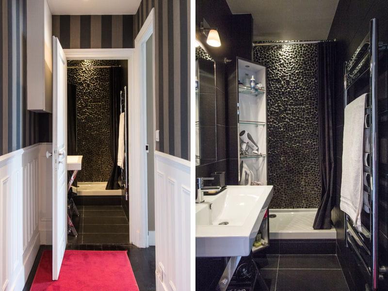 Salle de bains avec galets noirs salle de bains 80 for Salle de bain etroite
