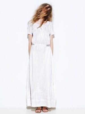 Robe blanche longue effet vintage de swildens robes - Robe blanche vintage ...