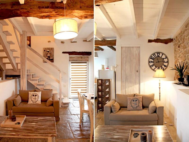 Salon en bois et pierre une petite maison fa on brocante for Interieur deco brocante