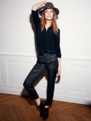Chemise noire et pantalon jacquard de comptoir des cotonniers shopping mode jolies tenues d - Chemise comptoir des cotonniers ...