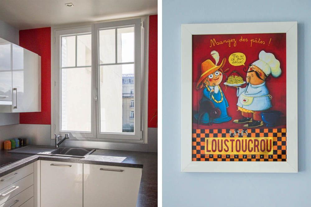une cuisine rouge et bleu un appartement acidul pour une famille nombreuse journal des femmes. Black Bedroom Furniture Sets. Home Design Ideas