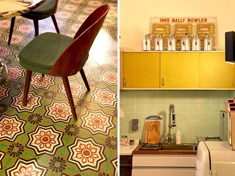 En vert et jaune une maison de ville entre d co r tro et for Deco cuisine 1950