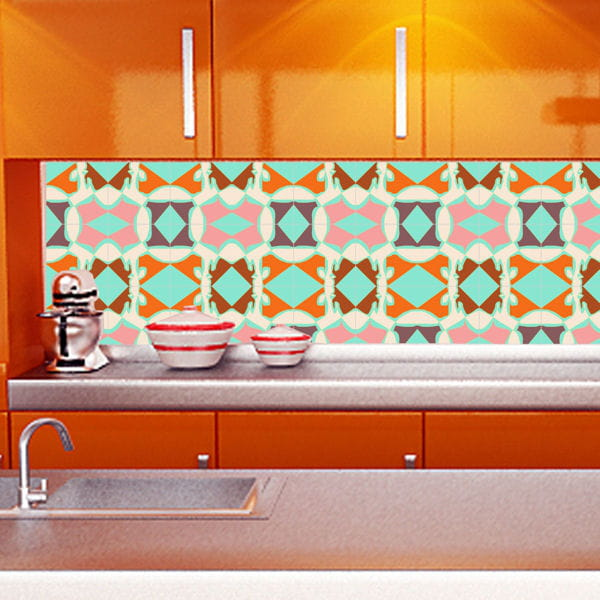 Carrelage mural cuisine orange for Carrelage cuisine mural