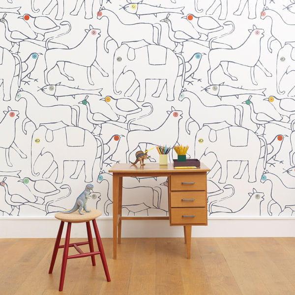 Papier peint ludique de minakani lab papiers peints s 39 il vous pla t - Papier peint motif journal ...
