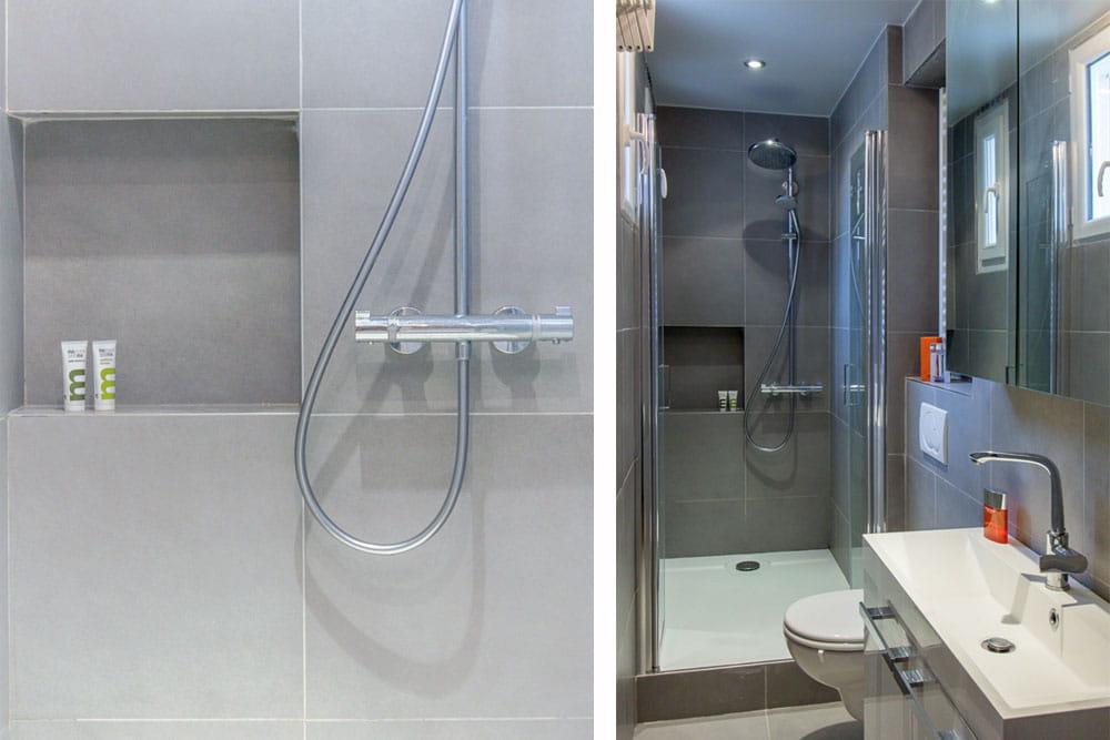 une salle d 39 eau tout en longueur un 37 m bleu et blanc tout en douceur journal des femmes. Black Bedroom Furniture Sets. Home Design Ideas