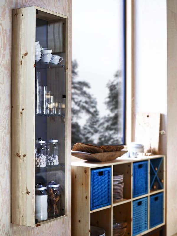 Vitrine en bois et verre d 39 ikea - Ikea vitrine en verre ...