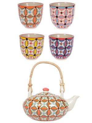 théière et gobelets rosaces de sema design