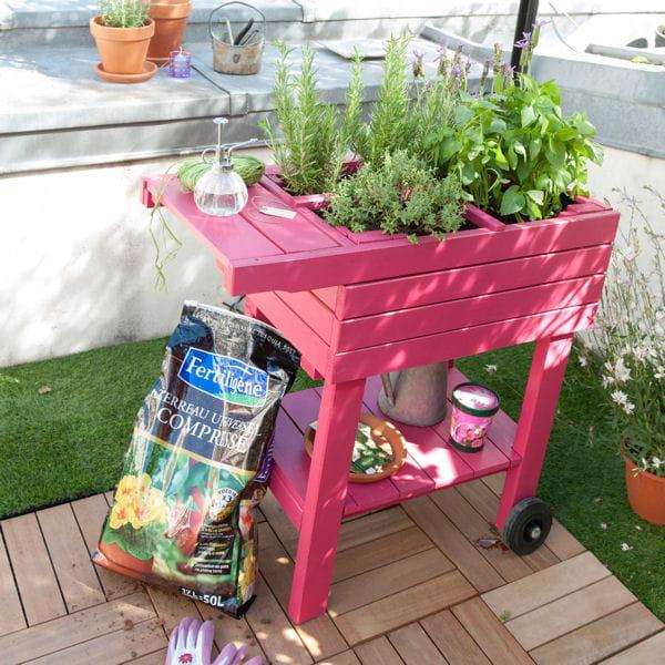 un carr potager sur le balcon. Black Bedroom Furniture Sets. Home Design Ideas