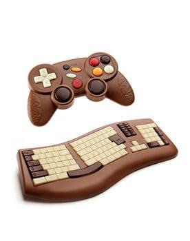 manette de jeu et clavier d'ordinateur en chocolat de d'lys couleurs