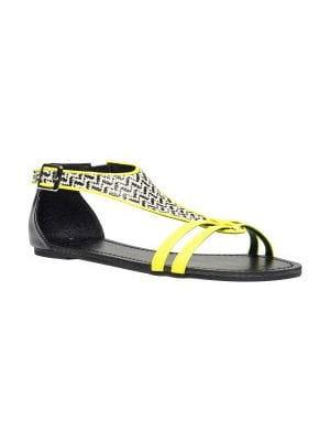 nu-pieds jaunes et noirs de gémo