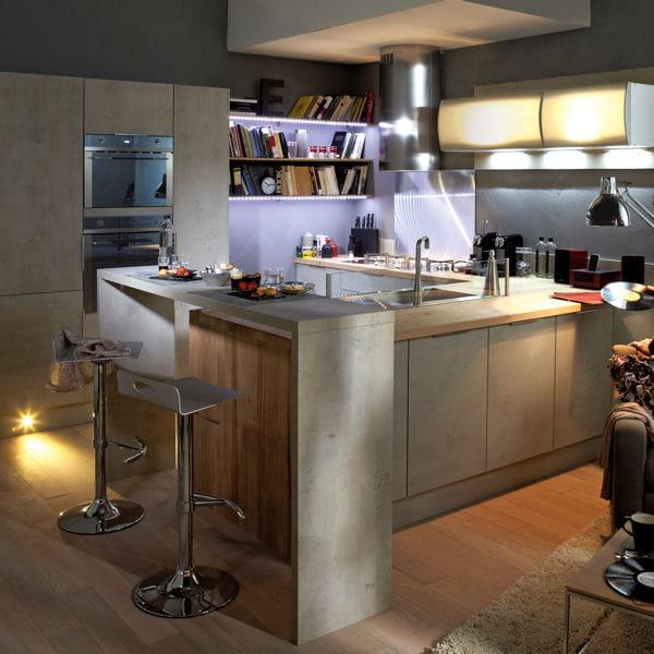 La modernit du b ton des mat riaux textur s pour la cuisine journal des - Leroy merlin cuisine plan de travail ...