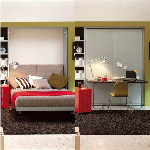 bureau le jour et lit la nuit du mobilier malin pour la chambre journal des femmes. Black Bedroom Furniture Sets. Home Design Ideas