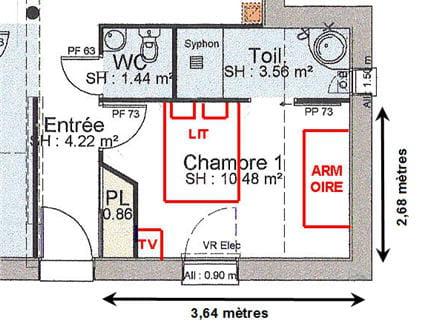 Le plan de la chambre avant apr s une chambre douce et for Plan chambre parentale