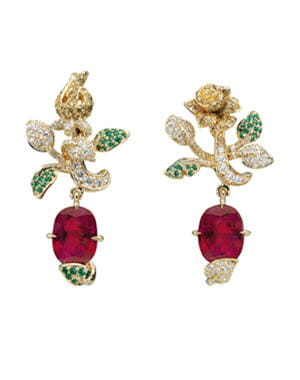 boucles d'oreilles prcieuse rose de dior joaillerie