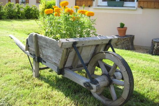 La brouette des pots et jardini res qu 39 il fallait oser journal des femmes - Brouette en bois de jardin ...