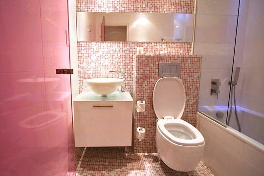 Salle de bains rose color design h tel des couleurs for Mosaique salle de bain rose