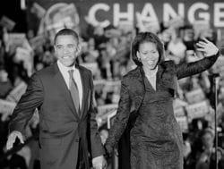 michelle et barack obama lors pendant la campagne présidentielle de 2008.