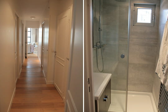 Salle de bains un appart 39 classique l 39 esprit loft - Salle de bain dans un couloir ...