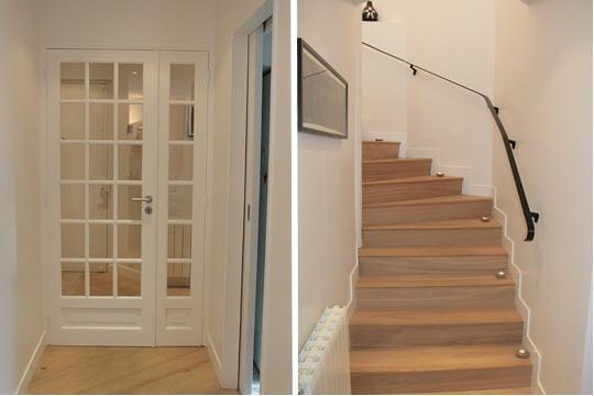 Un escalier lumineux un appart 39 classique l 39 esprit for Porte interieur a petit carreaux