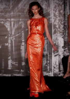 la robe orange de carolina herrera