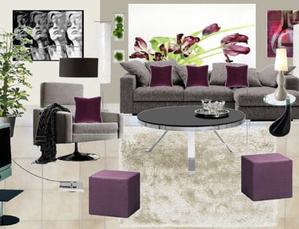 Idee deco salon gris et prune deco maison moderne for Deco salon prune
