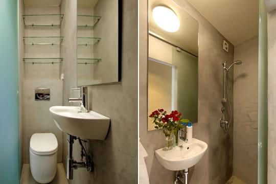 la salle d 39 eau un mini studio bio et ultra optimis journal des femmes. Black Bedroom Furniture Sets. Home Design Ideas
