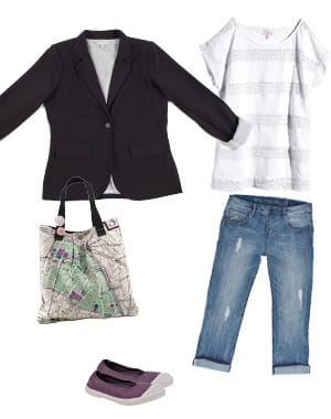 veste eurodif (29,99 euros), tee-shirt h&m (19,95euros), boyfriend jean cache