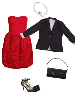 veste eurodif (29,95euros), robe h&m (39,95euros), escarpins 1.2.3