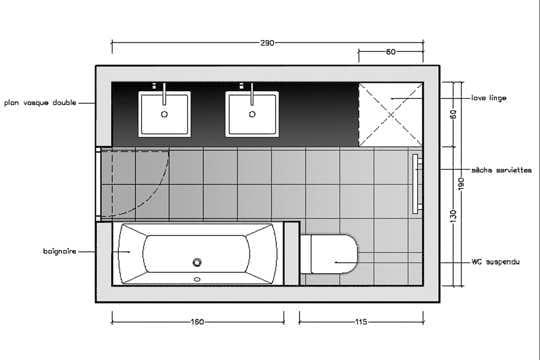 Avec des wc suspendus 10 plans pour une mini salle de for Plan salle de bain 6m2