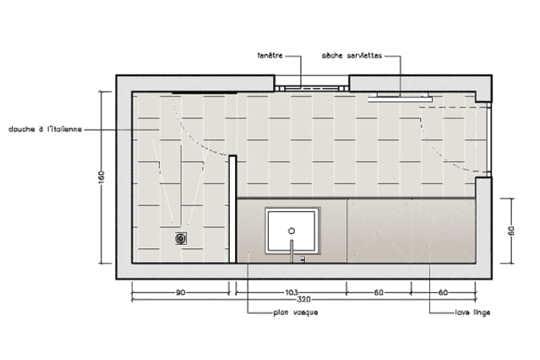 Avec un large plan vasque 10 plans pour une mini salle - Plan salle de bain douche italienne ...