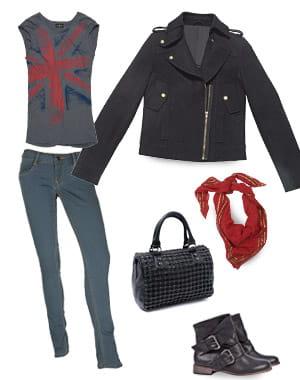 tee-shirt chipie (85euros), jean firetrap (55euros), manteau monoprix