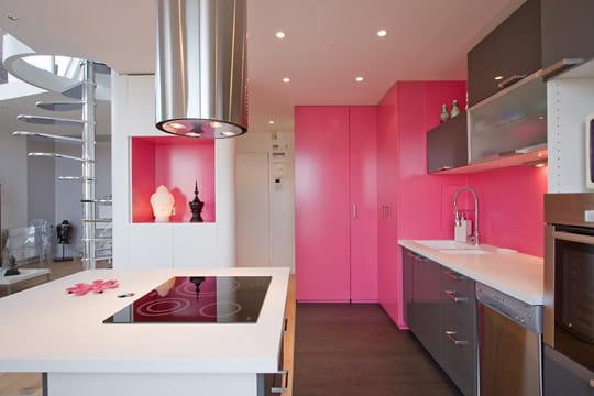 Cuisine en rose des int rieurs qui en font voir de for Cuisine rose et gris