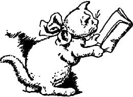 un chat qui lit, gravure ancienne.